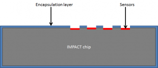Cross section showing the encapsulation layer around the IMPACT chip with exposed sensors