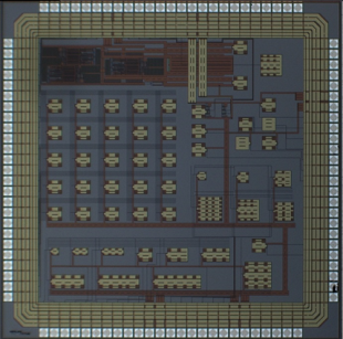 Optical image of a 3 x 3mm test chip with CMOS ISFET pH/ O2 sensors